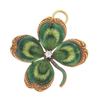 Vintage Green Enamel and Diamond Clover 14K Gold Charm