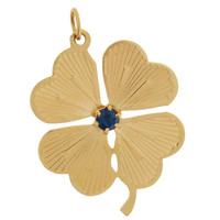 Vintage Four Leaf Clover with Sapphire 14K Gold Charm