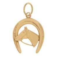 Vintage Horse with Horseshoe 14K Gold Charm