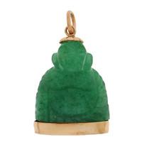 Vintage Carved Aventurine Buddha 14K Gold Charm