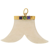 Vintage Carved Bone & Amethyst Objet 14K Gold Charm
