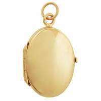 Oval Locket Engravable 14K Gold Charm