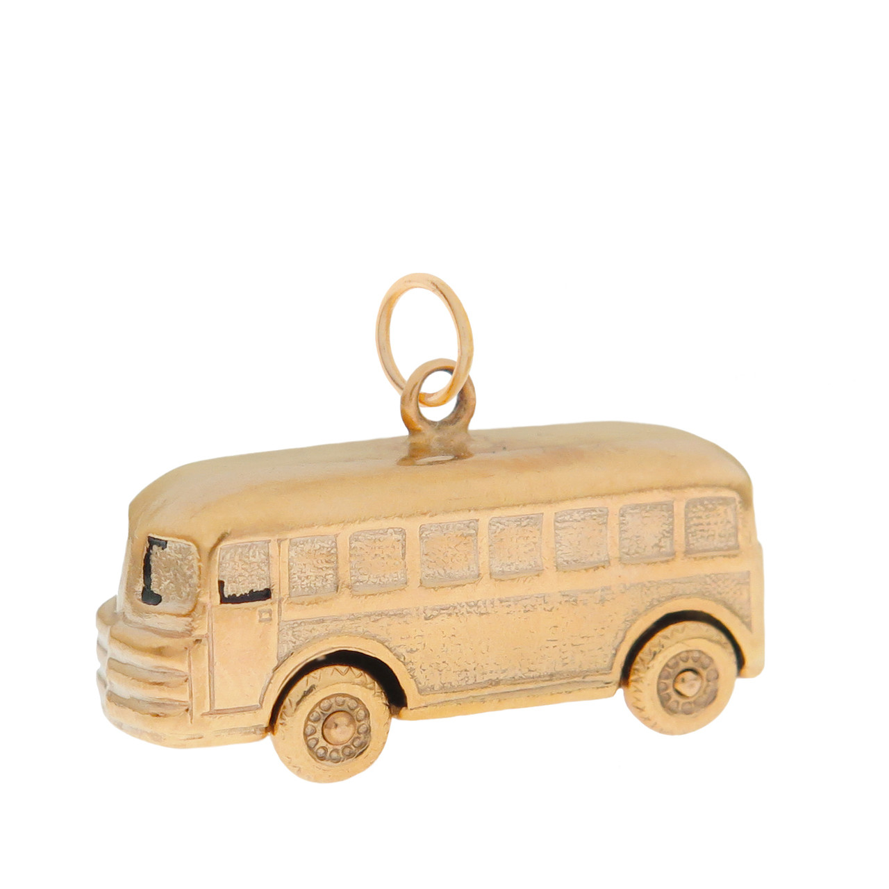 Vintage Movable School Bus 14K Gold Charm
