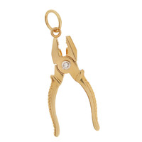 Vintage Movable Pliers with Diamond 14K Gold Charm