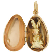 Vintage Easter Egg with Bunny 14K Gold Charm