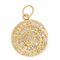 Vintage Diamond Swirl 14K Gold Charm