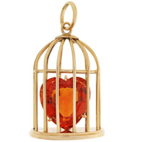Vintage Caged Citrine Heart 14K Gold Charm