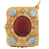 Vintage Rare Gem-Set Box 14K Gold Charm
