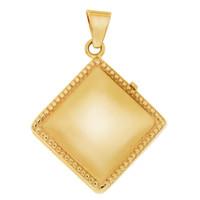 Diamond-Shaped Locket Engravable 14K Gold Charm