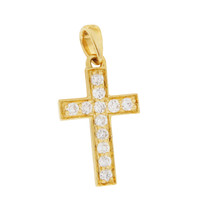 Classic Diamond Cross 14K Gold Charm