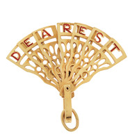 Vintage Movable Dearest Fan 14K Gold Charm