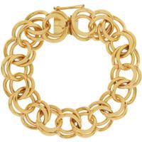 Vintage Heavy Double Link 14K Gold Charm Bracelet