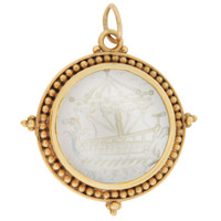 Vintage Mother of Pearl Nautical Intaglio 14K Gold Charm
