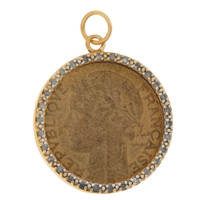 Vintage French Coin in Diamond Frame 14K Gold Charm