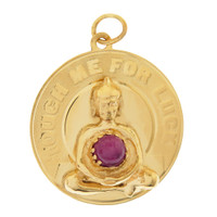 Vintage Ruby 'Touch Me For Luck' Buddha 14K Gold Charm