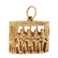 Vintage Movable Can Can Dancers 9K Gold Charm