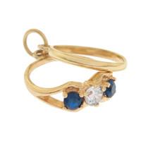 Three Stone Blue Wedding Ring Set 14K Gold Charm