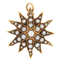Vintage Pearl and Diamond Starburst 14K Gold Charm