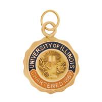 Vintage Enamel University of Illinois 10K Gold Charm
