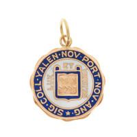 Vintage Enamel Engravable Yale 10K Gold Charm