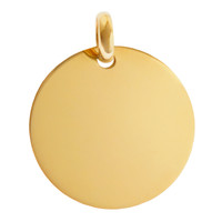 Large Engravable Disc with Modern Bale 14K Gold Charm