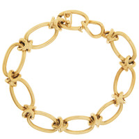 Vintage Oval and Knot Link 14K Gold Charm Bracelet