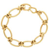Vintage Oval and Knot Link 14K Gold Charm Bracelet