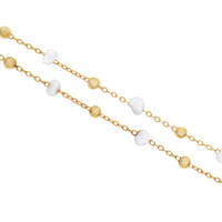 """Billie"" White Bead 14K Gold Charm Necklace"