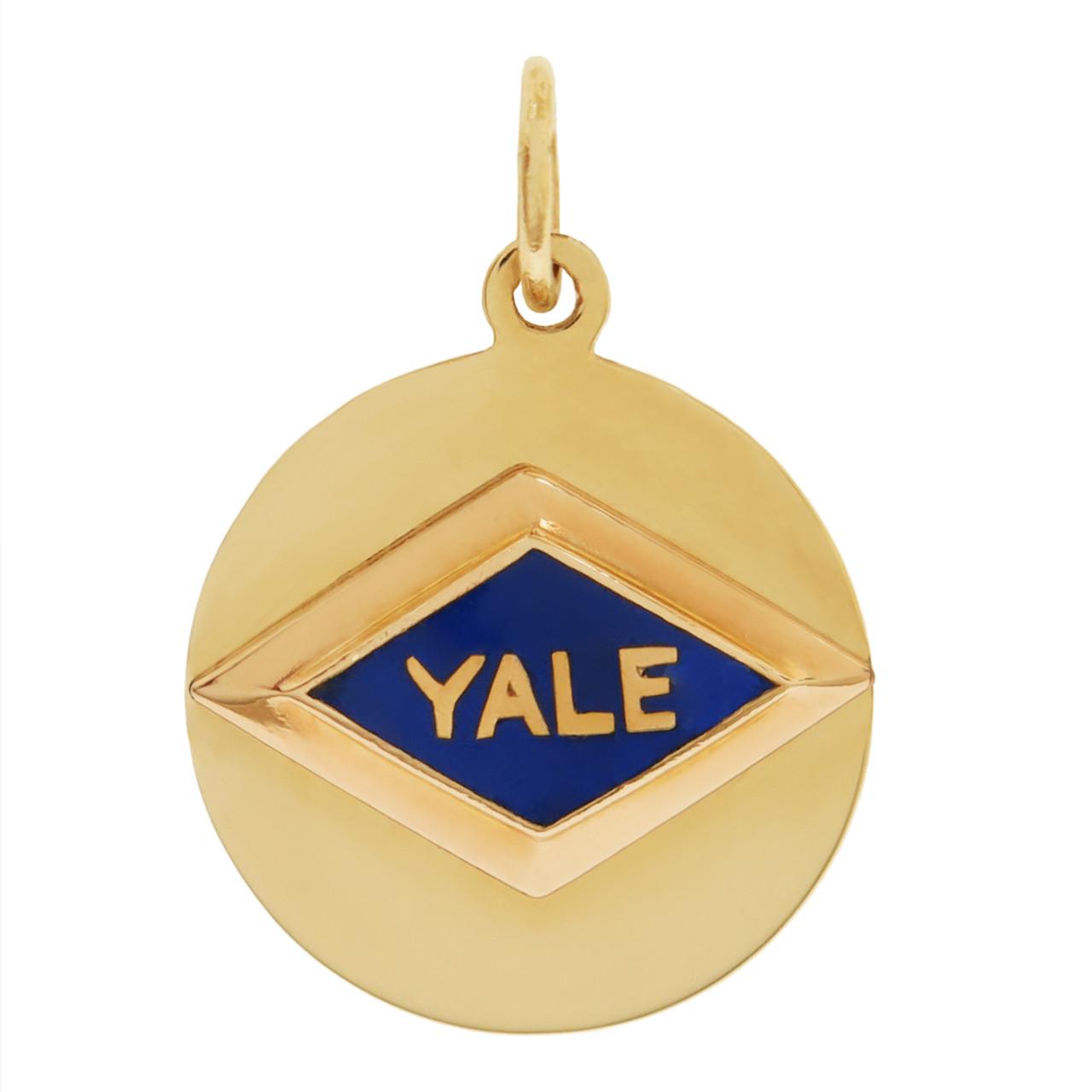 Vintage Blue Enamel Engravable Yale 14K Gold Charm