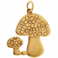 Vintage Pair of Mushrooms 9K Gold Charm