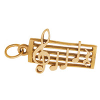 Vintage Sheet Music 9K Gold Charm