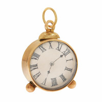 Vintage Table Clock 9K Gold Charm