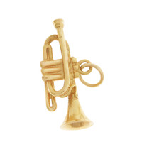 Vintage Classic Trumpet 14K Gold Charm