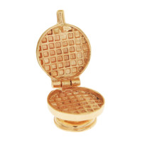 Vintage Movable Waffle Maker 14K Gold Charm