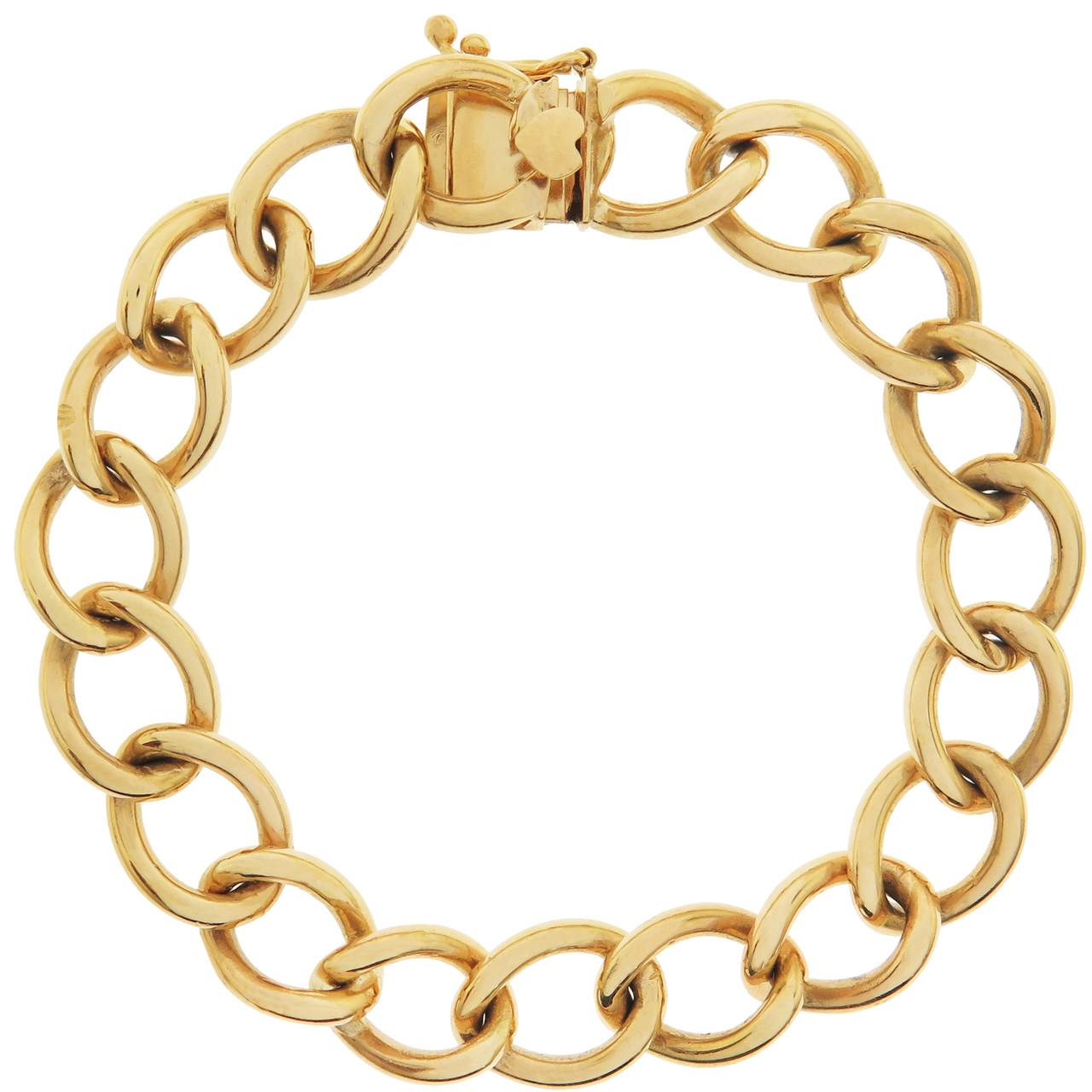 ec090dec267f8 Vintage Heavy Link with Heart Clasp 14K Gold Charm Bracelet ...