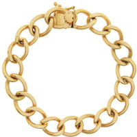 Vintage Heavy Link with Heart Clasp 14K Gold Charm Bracelet