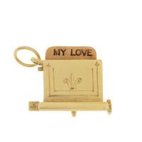 Vintage Movable Love Toaster 14K Gold Charm