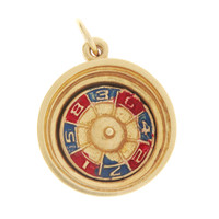 Vintage Movable Enamel Roulette Wheel 14K Gold Charm