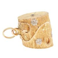Vintage Two-Tone Diamond Tree Trunk 14K Gold Charm