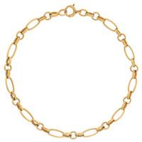 Vintage Alternating Link 14K Gold Charm Bracelet