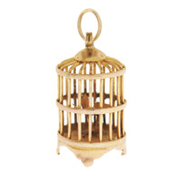 Vintage Birdcage 14K Gold Charm