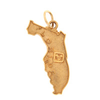 Vintage Map of Florida  with Mickey Mouse 14K Gold Charm