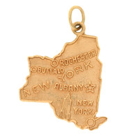 Vintage New York State Map 14K Gold Charm