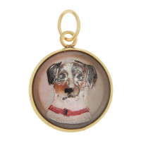 Vintage Terrier Reverse Intaglio 14K Gold Charm