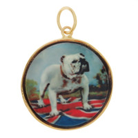 Vintage Dog - English Bulldog Lithograph 14K Gold Charm