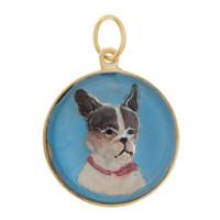 Vintage Blue Boston Terrier Reverse Intaglio 14K Gold Charm