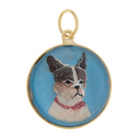 Vintage Dog - Blue Boston Terrier Reverse Intaglio 14K Gold Charm