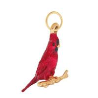 Vintage Enameled Cardinal 14K Gold Charm