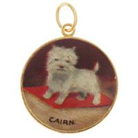 Vintage Dog - Cairn Terrier Lithograph 14K Gold Charm
