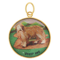 Vintage Dog - Sheep Dog Lithograph 14K Gold Charm